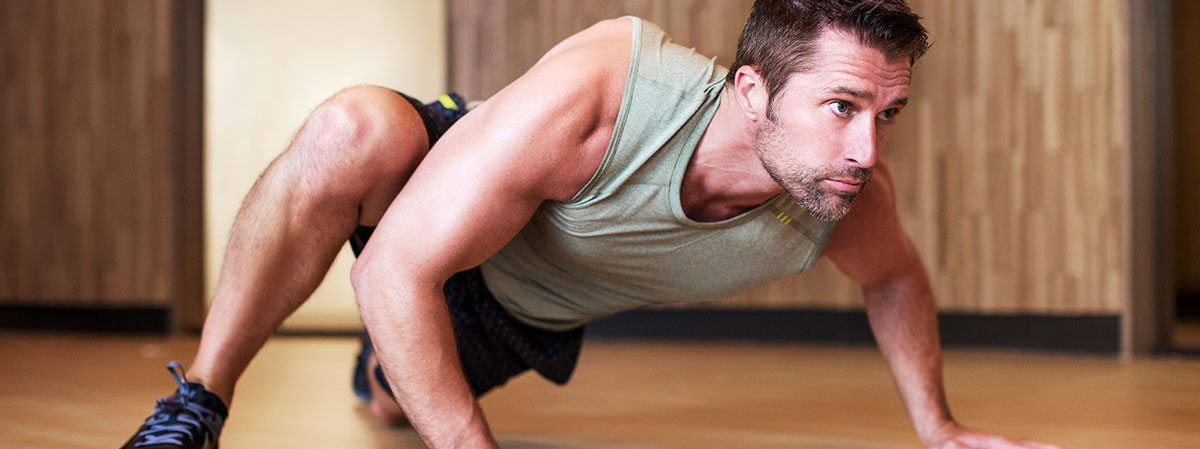 Fitness center man working out